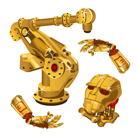 The set of components of the robot are made from the precious metal gold. High technology. Vector illustration.