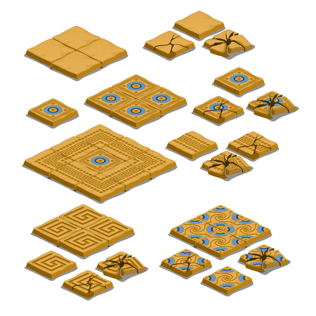 Set di piastrelle per pavimentazione intere e incrinate isolate su priorità bassa bianca. Illustrazione del primo piano del fumetto di vettore