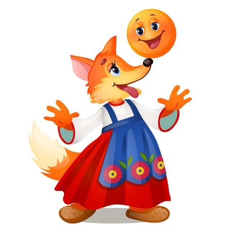 Fox in traditional Russian dress, and a smiling the bun isolated on white background. Characters of Russian fairy tales. Vector cartoon close-up illustration