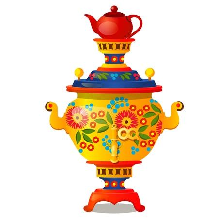 samovar con el ornamento tradicional ruso aislado en el fondo blanco. ilustración de dibujos animados de la mano . Ilustración de vector