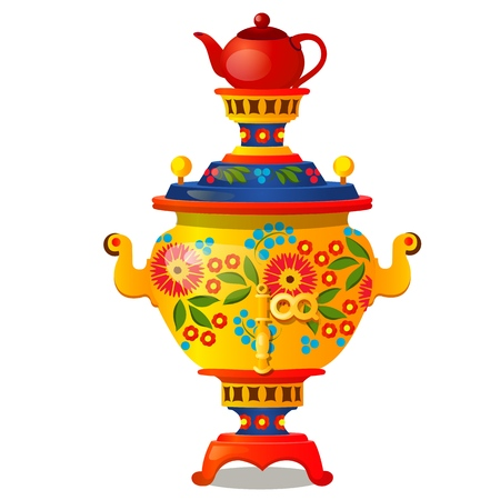 Samovar with traditional Russian ornament isolated on white background. Vector cartoon close-up illustration.