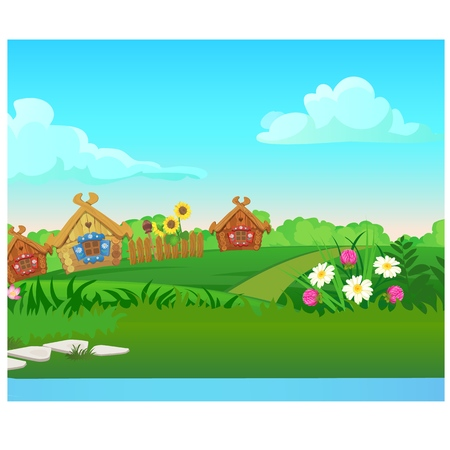 Cute poster with wooden country houses, grassy meadow. Vector cartoon close-up illustration.