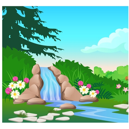 Picturesque landscape with a waterfall on the forest river. Sketch of a beautiful poster or placard on the theme of wildlife nature. Vector cartoon close-up illustration Illustration