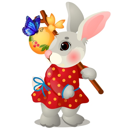 Animated hare with a bag and clothes isolated on white background. The character of Russian folk tales. Vector cartoon close-up illustration Çizim