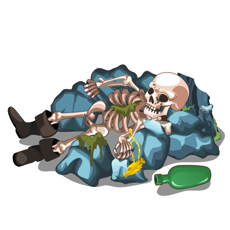 Skeletal corpse of a man lying on the stones isolated on white background. The skeleton of a human. Vector cartoon close-up illustration.