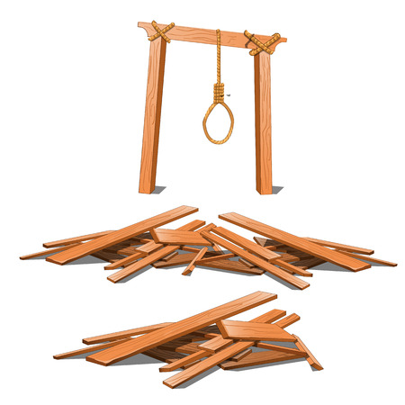 The old gibbet and a bunch of boards isolated on white background. Vector cartoon close-up illustration.