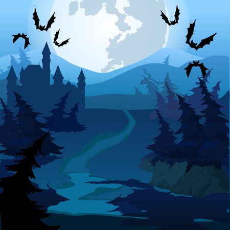 Het pad door het betoverde bos 's nachts. Vector cartoon close-up illustratie. Vector Illustratie