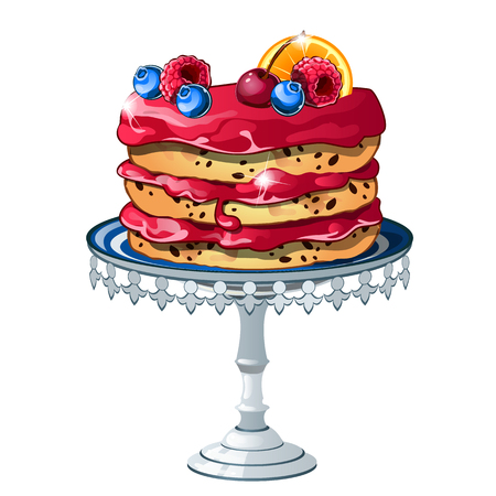 Puff cake with fresh fruits and berries isolated on a white background. Vector cartoon close-up illustration.