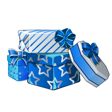 Pile of gift boxes wrapped in bright wrapping paper, isolated on white background. Vector cartoon close-up illustration  イラスト・ベクター素材