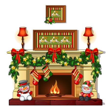 Weihnachtsskizze mit dem Kamin mit Weihnachtsschmuck. Muster des Posters, der Einladung und anderer Karten. Vektor-Illustration Vektorgrafik