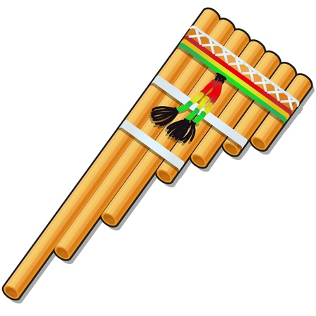 Pan flute isolated on white background. Vector cartoon close-up illustration