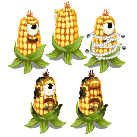 Trapped fancy monster in the form of an one-eyed decaying cob of corn isolated on a white background. Vector cartoon close-up illustration