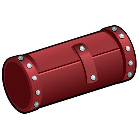 Red leather cosmetic tube isolated on white background. Makeup brush roll closeup. Vector illustration Vetores