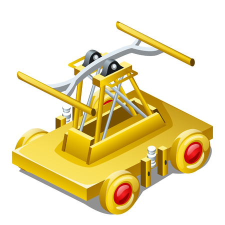 Table souvenir in the form of draisine or handcar made of gold isolated on white background closeup. Vector illustration