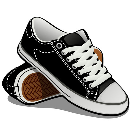 A pair of sneakers with white laces isolated on white background. Classic sports shoes. Vector illustration. Stok Fotoğraf - 106051904