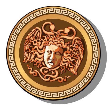 Der gravierte Kopf des Medusa Gorgon-Kopfes lokalisiert auf weißem Hintergrund. Karikaturvektor-Nahaufnahmeillustration.