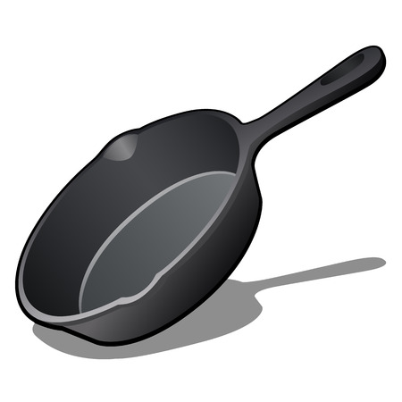 Cartoon cast iron skillet with non-stick coating isolated on white background. Vector illustration. Vectores