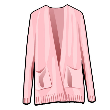 Pink womens jacket with pockets isolated on white background. Vector cartoon close-up illustration.