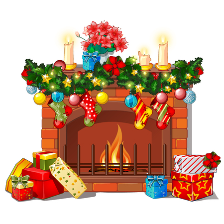 Christmas sketch with the fireplace and decorations, glass balls and baubles. Sketch for greeting card, festive poster, party invitations.The attributes of Christmas and New year. Vector illustration