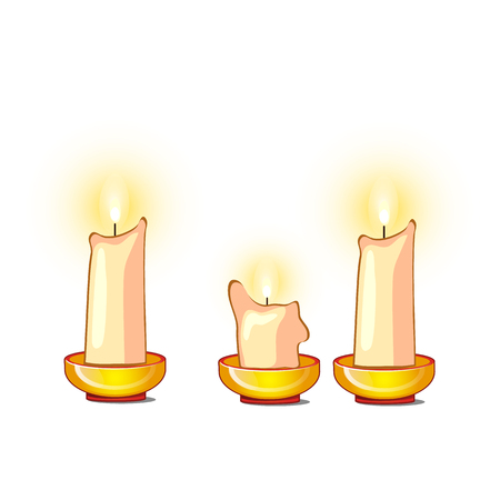White candles burn and melt isolated on white background. Vector cartoon close-up illustration Vectores