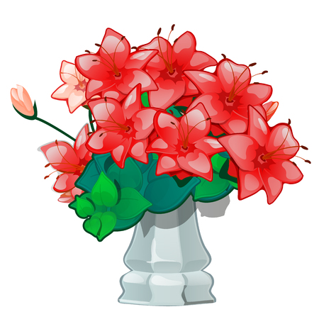 Red flowers in a vintage ceramic vase isolated on white background. Vector illustration
