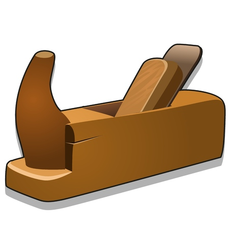 Wooden hand planer or jack-plane isolated on white background. Vector cartoon close-up illustration. Banco de Imagens