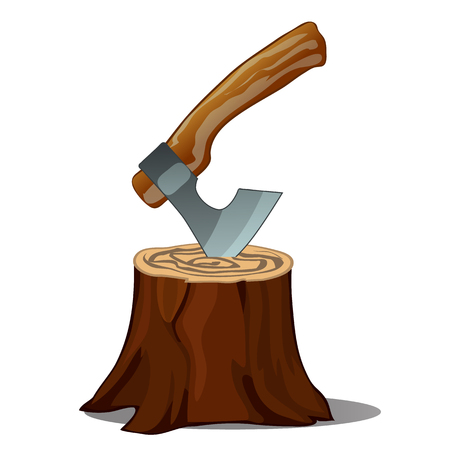 A tree stump with an axe stuck isolated on white background. Vector cartoon close-up illustration Illustration