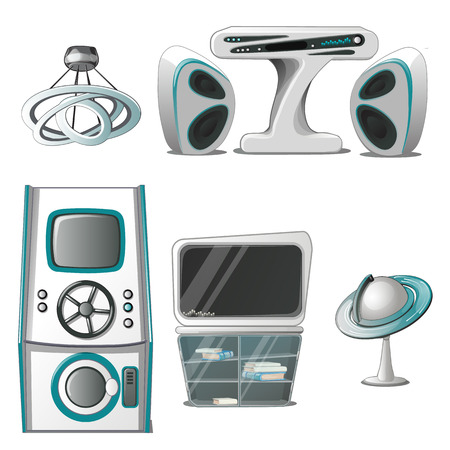 A set of interior and electronic equipment in the High-Tech style isolated on white background. Interior design in futuristic style. Vector illustration Illustration