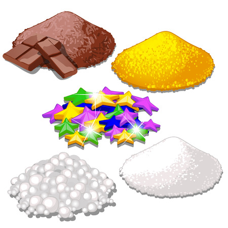 Set of handful of bright colorful food candy sprinkles for festive desserts isolated on white. Sample of granular topping and decors for baking. Grated chocolate, powdered sugar, stars. Vector