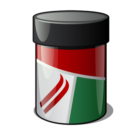 Plastic jar with ski wax isolated on a white background. Vector cartoon close-up illustration