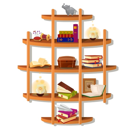 Wall-mounted wooden shelf with books isolated on white background. Vector cartoon close-up illustration Illustration