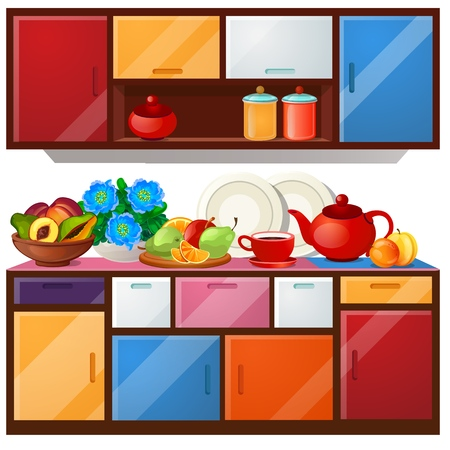 Colored kitchen cupboard, dishes and fresh fruit isolated on white background. Vector cartoon close-up illustration