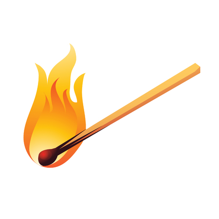 Burning match isolated on white background. Cartoon vector illustration close-up