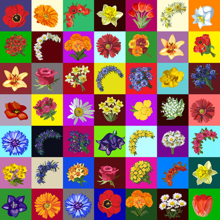 Big group set of flowers and bouquet of garden and meadow flower. Sketch for stickers, card, seamless texture for wrapping paper on theme of nature and gardening. Cartoon vector close-up illustration