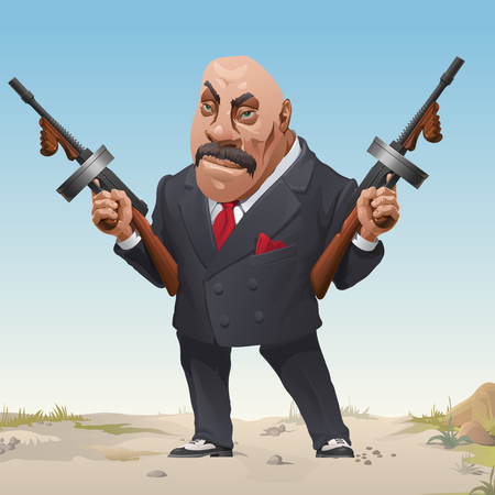 Gangster in stylish business fashion suit and sneakers armed with two machine guns. Bandit of wild West. Serious criminal male with the bald head threatens a firearm. Vector cartoon close-up Ilustração