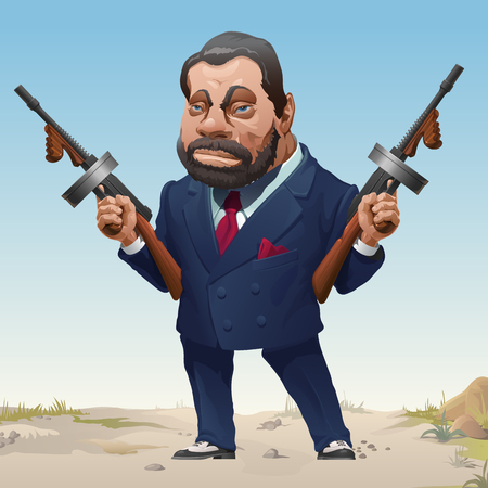 Gangster in stylish business fashion suit and sneakers armed with two machine guns. Bandit of wild West. Serious criminal male with a beard and mustache threatens a firearm. Vector cartoon close-up. Banco de Imagens