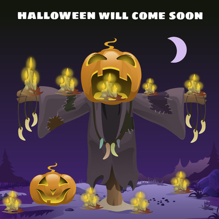 Poster in style of holiday all evil Halloween. Scarecrow with a head of pumpkin at midnight by the light of the moon. Jack-o-lantern with burning candles inside. Vector cartoon close-up illustration Ilustração