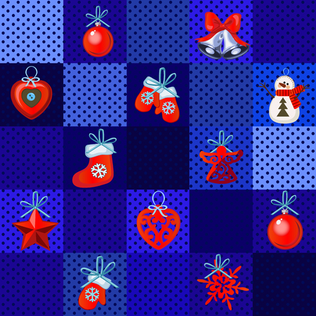 Funny poster, cover or party invitation with Christmas handmade gifts and baubles. Sketch for stickers, card, seamless texture with polka dot for wrapping paper. Vector cartoon close-up illustration
