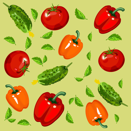 Texture of ripe vegetables and herbs isolated on green background. Sketch for card, seamless texture for wrapping paper on theme of harvest agricultures. Cartoon vector close-up illustration
