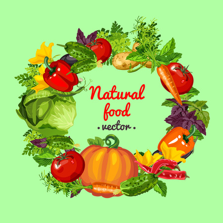 Poster with round frame made of fresh whole vegetables and healthy herbs. Sketch of poster, banner, placard, card on theme of harvest and healthy fitness diet. Vector cartoon close-up illustration. Stock Vector - 107857112