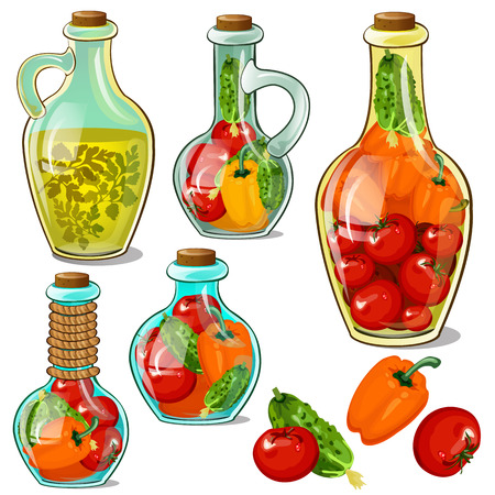 Set of decorative glass bottles with pickled ripe vegetables. Element of interior design on theme of harvest and thanksgiving day isolated on a white background. Vector cartoon close-up illustration Illustration