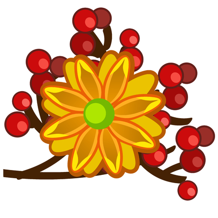 The element of autumn decor in the form of a bright orange flower with red berries isolated on white background. Vector cartoon close-up illustration