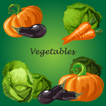 Poster with a picture of ripe and healthy vegetables isolated on green background. Ripe pumpkin, eggplant and cabbage. Organic food healthy diet and fitness menu. Vector cartoon close-up illustration. Illustration
