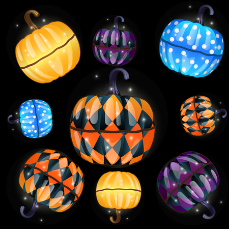 Set of colorful boxes with a fun texture made in the shape of pumpkins isolated on a black background. The attributes of the celebration of the Halloween holiday. Vector cartoon close-up illustration Stock Illustratie