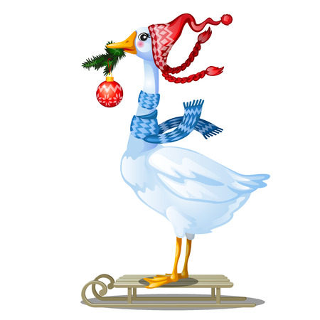 Cute animated goose in knitted winter cap with pompom holding in its beak a twig of fir with a glass Christmas ball isolated on white background. Poultry sledding Vector cartoon close-up illustration