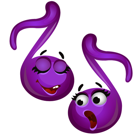 Set of funny laughing musical notes isolated on white background. Vector cartoon close-up illustration