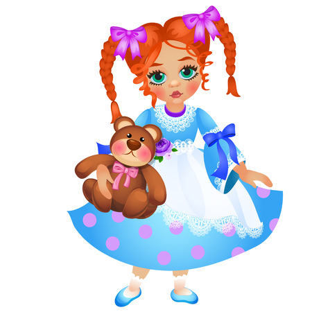 Little redhead girl with two braided pigtails holds toy teddy bear isolated on white background. Vector cartoon close-up illustration 向量圖像
