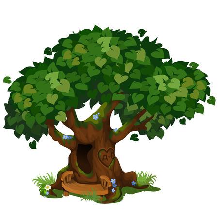 Accogliente capanna nella foresta nel vecchio albero isolato su sfondo bianco. Il favoloso albero del Parco. Paesaggistica e fauna selvatica. Illustrazione del primo piano del fumetto di vettore Vettoriali