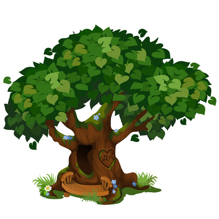 Gezellige boshut in de oude boom die op witte achtergrond wordt geïsoleerd. De fantastische boom in het park. Landschapsarchitectuur en dieren in het wild. Vector cartoon close-up illustratie Vector Illustratie