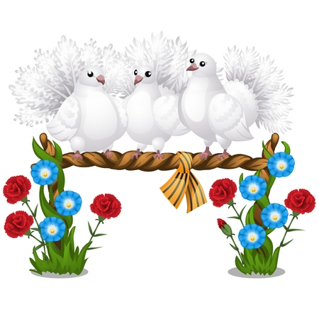Sketch of a poster with several beautiful white doves sitting on a wicker perch and flowers isolated on white background. Vector cartoon close-up illustration.